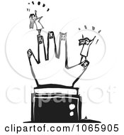 Clipart Girls On A Giant Hand Royalty Free Vector Illustration