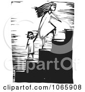Clipart Mother Leading Her Child Up Stairs Royalty Free Vector Illustration by xunantunich