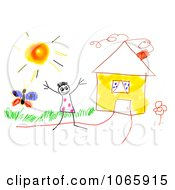 Clipart Drawing Of A Kid By A House Royalty Free CGI Illustration