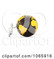 Clipart 3d White Person Leaning Against A Globe Royalty Free CGI Illustration