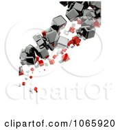 Clipart Vertical Background Of Floating Cubes - Royalty Free CGI Illustration by chrisroll