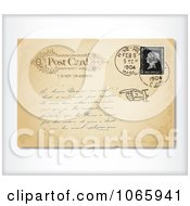 Clipart Old Postcard With Writing Royalty Free Vector Illustration