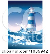 Clipart Lighthouse And Rough Seas Royalty Free Vector Illustration by Eugene #COLLC1065942-0054