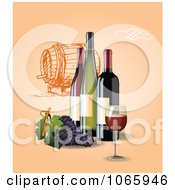 Clipart Wine Bottles With Grapes On Tan Royalty Free Vector Illustration by Eugene