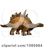 Clipart Dino With A Skyscraper Spine Royalty Free Vector Illustration