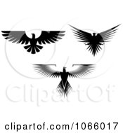 Clipart Silhouetted Eagles 2 Royalty Free Vector Illustration