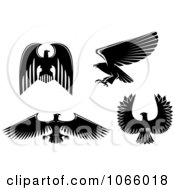 Clipart Silhouetted Eagles 1 Royalty Free Vector Illustration
