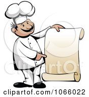 Clipart Chef Holding A Scroll Menu Royalty Free Vector Illustration