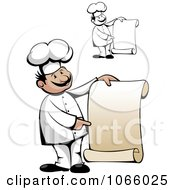 Clipart Chefs Holding Scroll Menus Royalty Free Vector Illustration