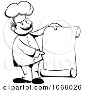 Clipart Outlined Chef Holding A Scroll Menu Royalty Free Vector Illustration