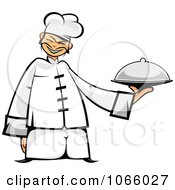 Clipart Asian Chef Holding A Platter Royalty Free Vector Illustration