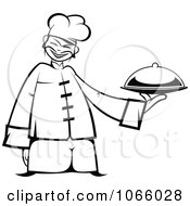 Clipart Outlined Asian Chef Holding A Platter Royalty Free Vector Illustration