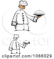 Clipart Asian Chefs Holding Platters Royalty Free Vector Illustration