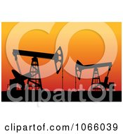 Clipart Oil Field At Sunset Royalty Free Vector Illustration by Vector Tradition SM