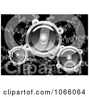 Clipart Music Waves And Speakers On Black Royalty Free Vector Illustration