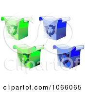 Clipart 3d Green And Blue Recycle Bins Royalty Free Vector Illustration