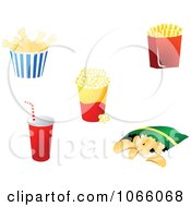 Clipart Chicken Fries Popcorn Soda And Potato Chips Royalty Free Vector Illustration