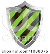 Clipart 3d Green And Black Shield Royalty Free Vector Illustration