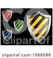 Clipart 3d Striped Shields Royalty Free Vector Illustration