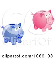Clipart 3d Piggy Banks Royalty Free Vector Illustration