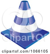 Clipart 3d Blue Construction Cone Royalty Free Vector Illustration