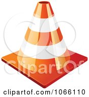 Clipart 3d Orange Construction Cone Royalty Free Vector Illustration