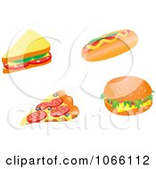 Clipart Sandwich Pizza Slice Hot Dog And Cheeseburger Royalty Free Vector Illustration by Vector Tradition SM