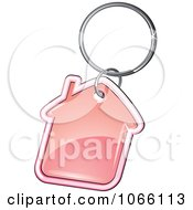 Clipart Pink House Key Ring Royalty Free Vector Illustration