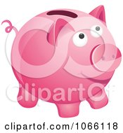 Clipart 3d Pink Piggy Bank Royalty Free Vector Illustration