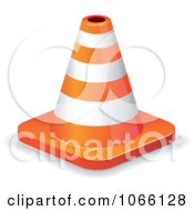 Clipart Orange Construction Cone Royalty Free Vector Illustration