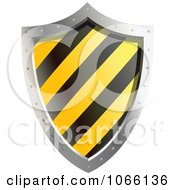 Clipart 3d Yellow And Black Shield Royalty Free Vector Illustration