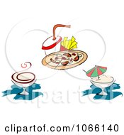Clipart Cocktail And Pizza Icons Royalty Free Vector Illustration