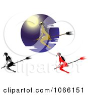 Clipart Sexy Witches Flying Royalty Free Vector Illustration