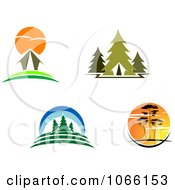 Clipart Cabin And Wilderness Scenes Royalty Free Vector Illustration