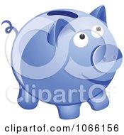 Clipart 3d Blue Piggy Bank Royalty Free Vector Illustration