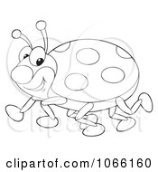 Clipart Outlined Happy Ladybug Royalty Free Illustration by Alex Bannykh