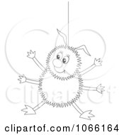 Clipart Outlined Happy Spider Hanging Royalty Free Illustration by Alex Bannykh