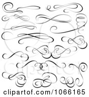 Clipart Black And White Calligraphic Designs Royalty Free Vector Illustration