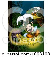 Clipart Lightning Bugs Parachuting Royalty Free Illustration