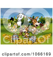 Clipart Easter Animals Eggs And Flowers In A Meadow Royalty Free Illustration by dero