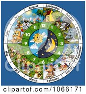Clipart Animal Month And Clock Face Royalty Free Illustration by dero