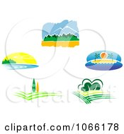 Clipart Nature Landscape Logos 1 Royalty Free Vector Illustration