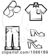 Clipart Black And White Fashion Icons 5 Royalty Free Vector Illustration
