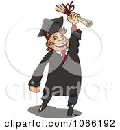 Clipart Happy College Grad Holding His Certificate Royalty Free Vector Illustration