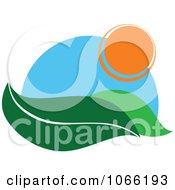 Clipart Leaf And Sun Landscape Logo 1 Royalty Free Vector Illustration