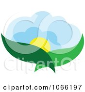 Clipart Leaf And Sun Landscape Logo 2 Royalty Free Vector Illustration