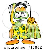 Clipart Picture Of A Paper Mascot Cartoon Character In Green And Yellow Snorkel Gear