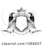 Clipart Winged Crowned Shield Over A Banner 3 Royalty Free Vector Illustration