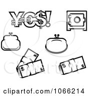 Clipart Black And White Finance Icons 2 Royalty Free Vector Illustration