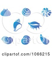 Clipart Blue Shell Logos 1 Royalty Free Vector Illustration by Vector Tradition SM